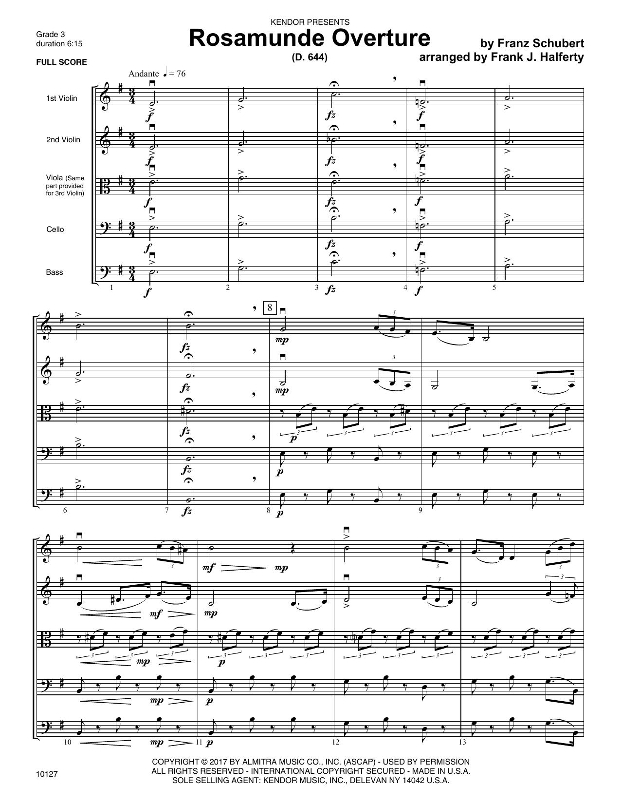 Frank J. Halferty Rosamunde Overture (D. 644) - Full Score sheet music notes printable PDF score
