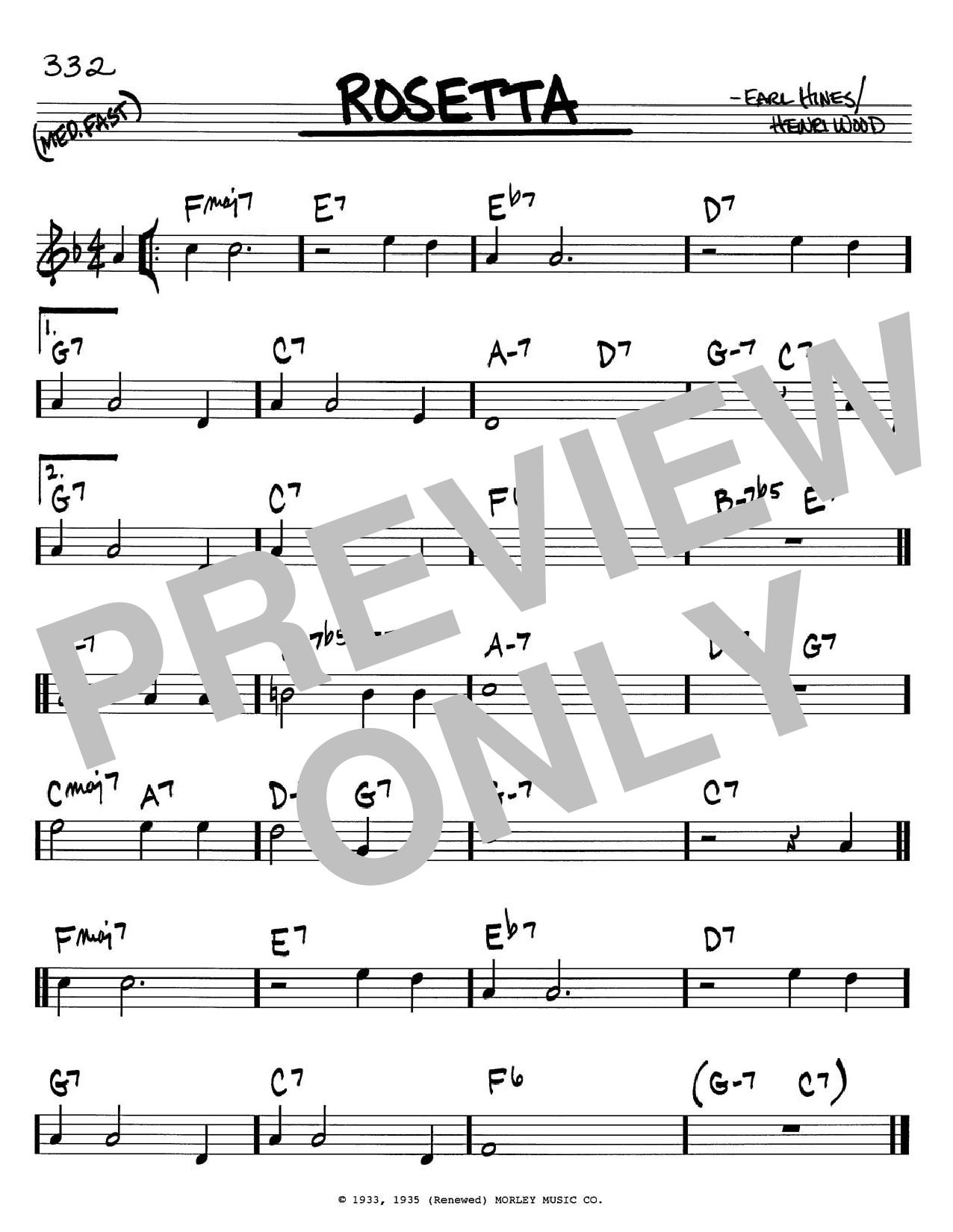 Earl Hines Rosetta sheet music notes printable PDF score