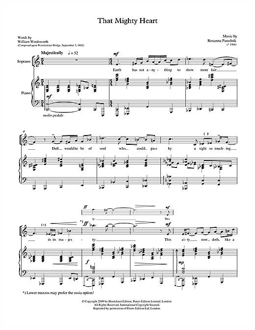 Roxanna Panufnik That Mighty Heart (for soprano & piano) sheet music notes printable PDF score