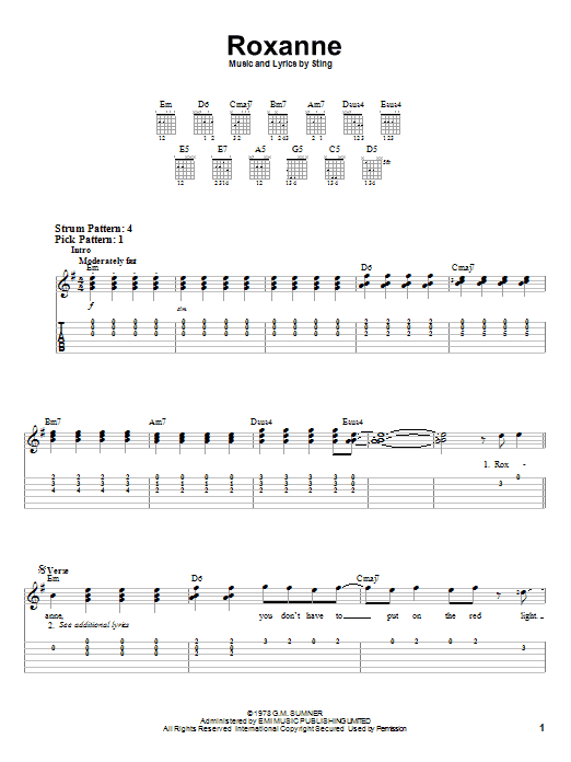 The Police Roxanne sheet music notes printable PDF score