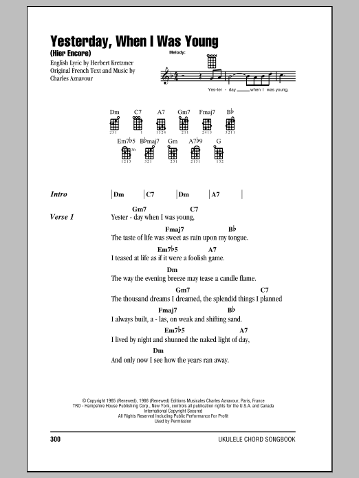 Roy Clark Yesterday, When I Was Young (Hier Encore) sheet music notes and chords. Download Printable PDF.
