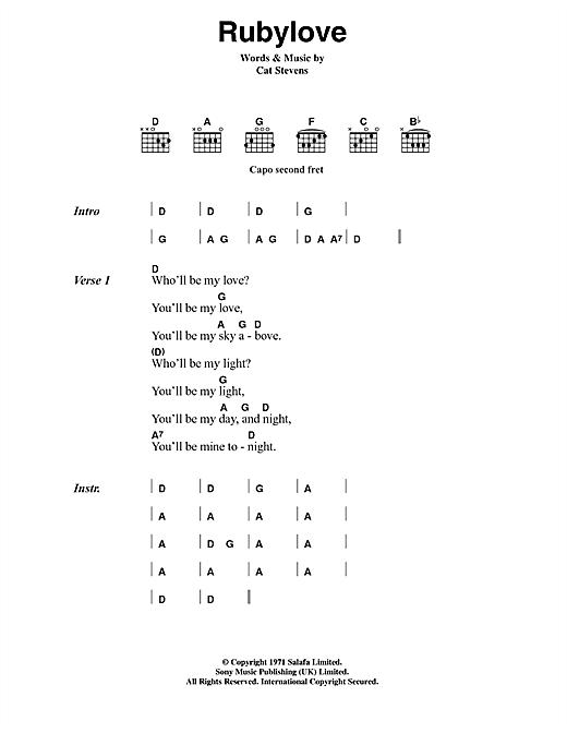 Cat Stevens Rubylove sheet music notes printable PDF score