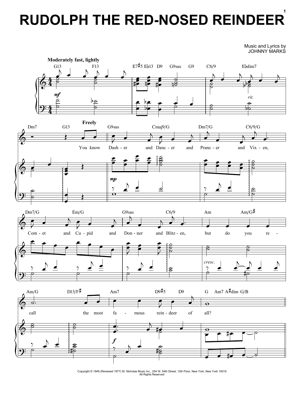 Johnny Marks Rudolph The Red-Nosed Reindeer [Jazz Version] (arr. Brent Edstrom) sheet music notes printable PDF score