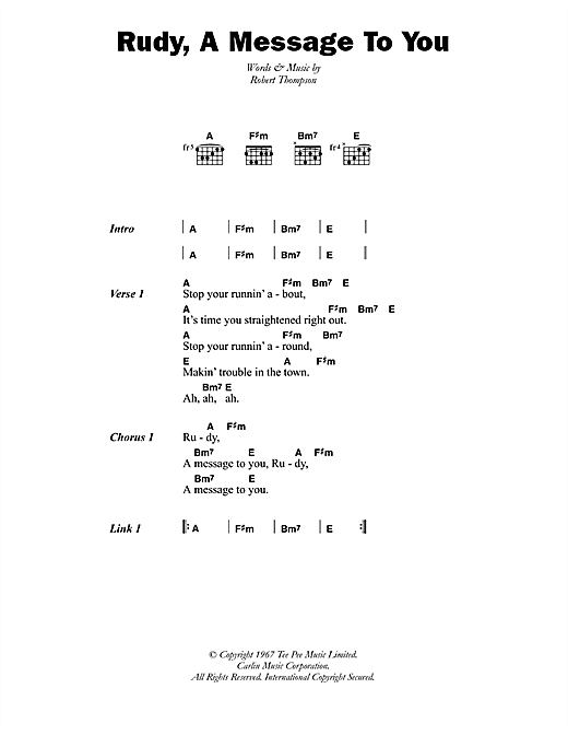 Dandy Livingstone Rudy, A Message To You sheet music notes printable PDF score