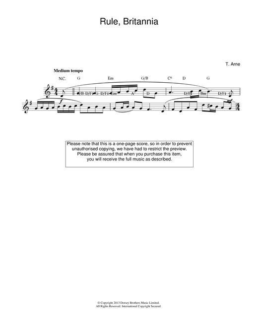 Thomas Arne Rule Britannia sheet music notes printable PDF score
