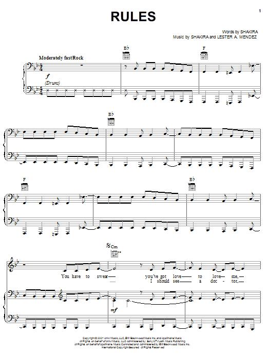 Shakira Rules sheet music notes printable PDF score
