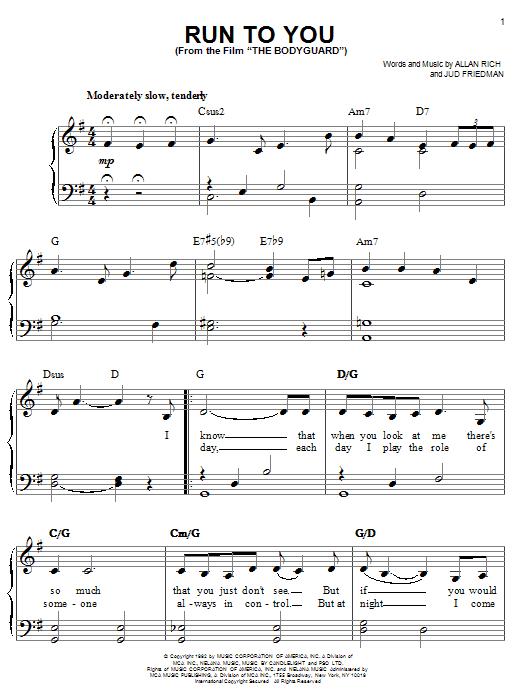 Whitney Houston Run To You sheet music notes printable PDF score