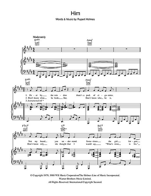 Rupert Holmes Him sheet music notes and chords. Download Printable PDF.