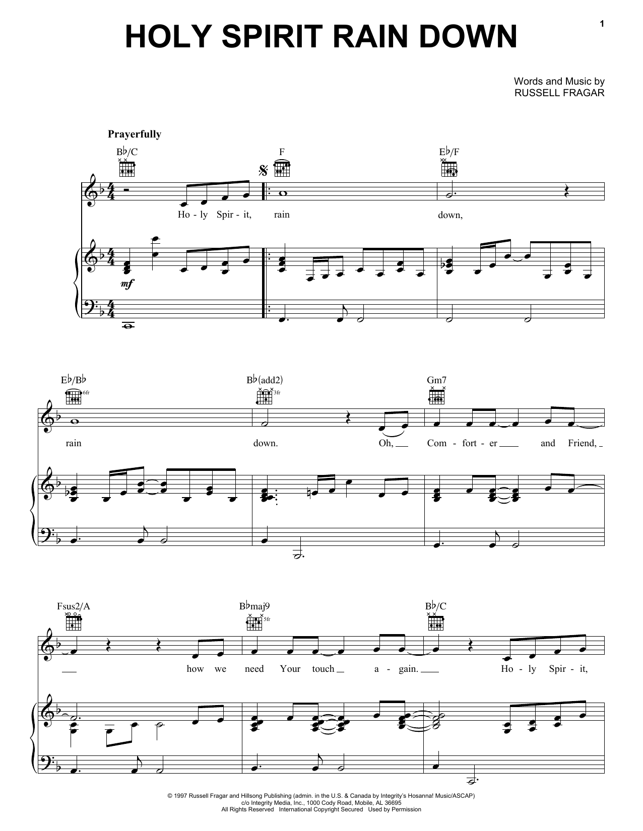 Russell Fragar Holy Spirit Rain Down sheet music notes and chords. Download Printable PDF.