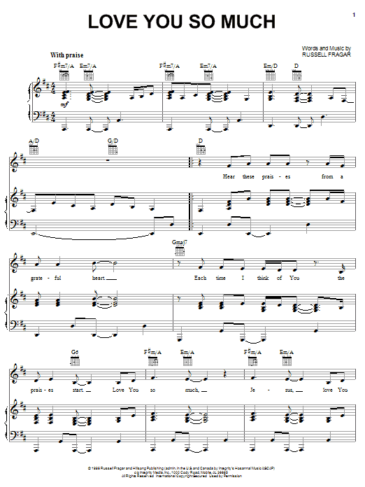 Russell Fragar Love You So Much sheet music notes and chords. Download Printable PDF.