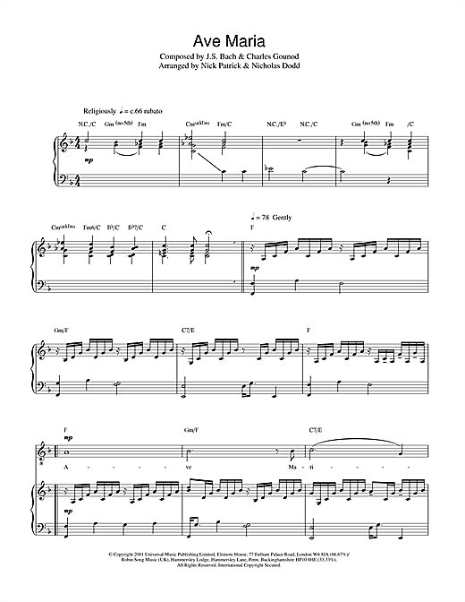 Russell Watson Ave Maria sheet music notes printable PDF score
