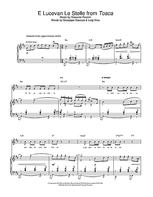 Russell Watson E Lucevan Le Stelle (from Tosca) sheet music notes printable PDF score