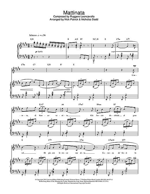 Russell Watson Mattinata sheet music notes printable PDF score