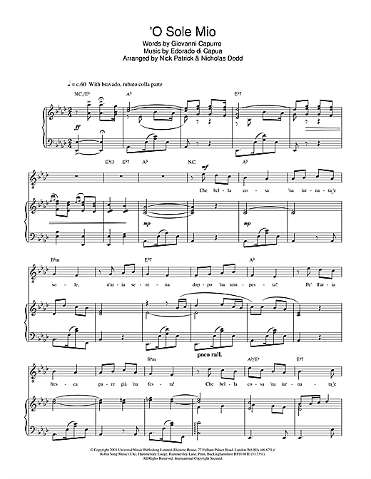Russell Watson O Sole Mio sheet music notes printable PDF score