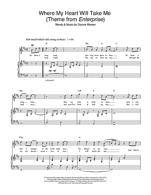 Russell Watson Where My Heart Will Take Me (theme from Star Trek: Enterprise) sheet music notes printable PDF score