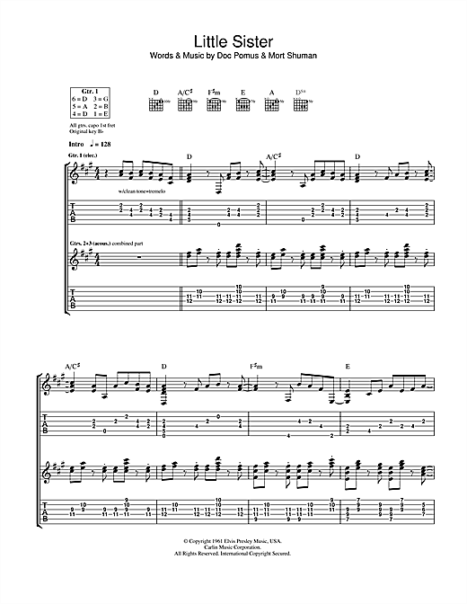 Ry Cooder Little Sister sheet music notes printable PDF score