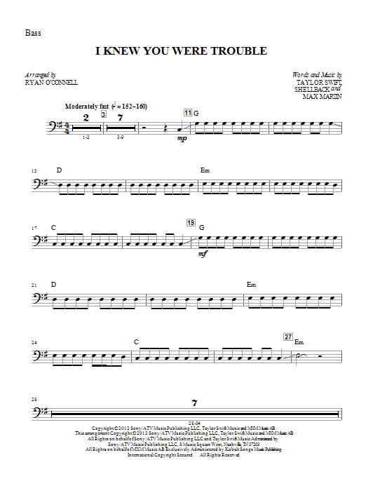 Ryan O'Connell I Knew You Were Trouble - Bass sheet music notes printable PDF score