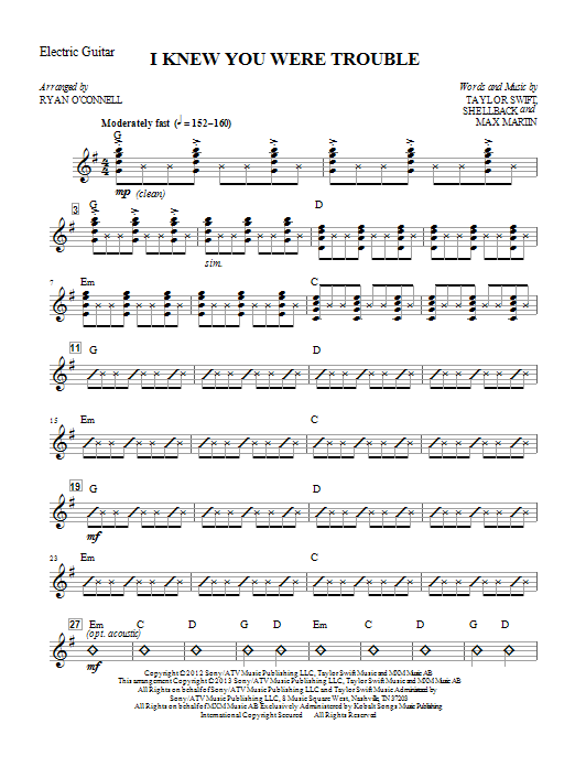 Ryan O'Connell I Knew You Were Trouble - Guitar sheet music notes printable PDF score