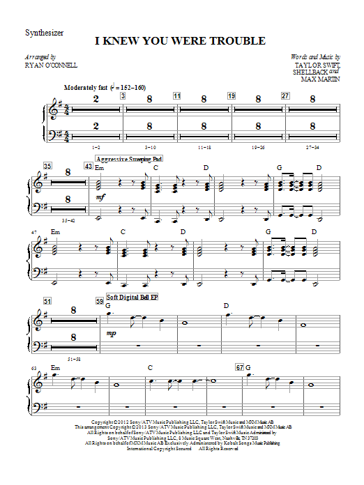 Ryan O'Connell I Knew You Were Trouble - Synthesizer sheet music notes printable PDF score