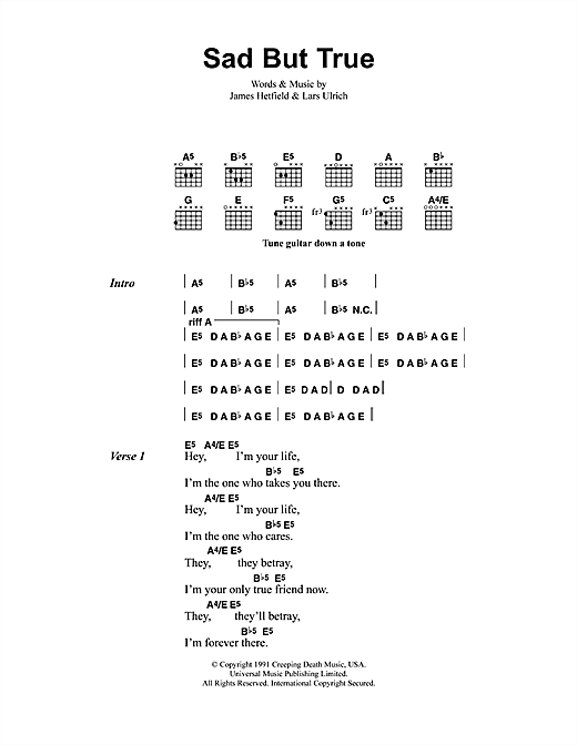 Metallica Sad But True sheet music notes printable PDF score
