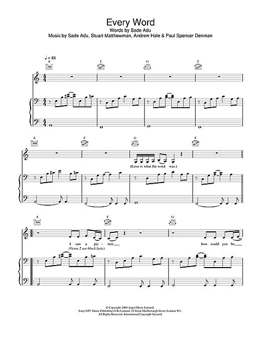 Sade Every Word sheet music notes printable PDF score
