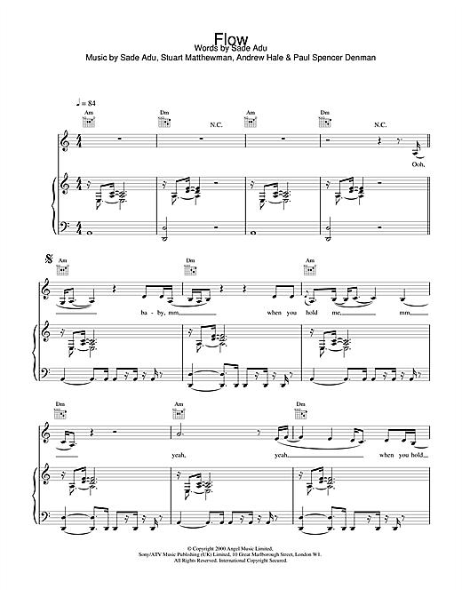 Sade Flow sheet music notes printable PDF score