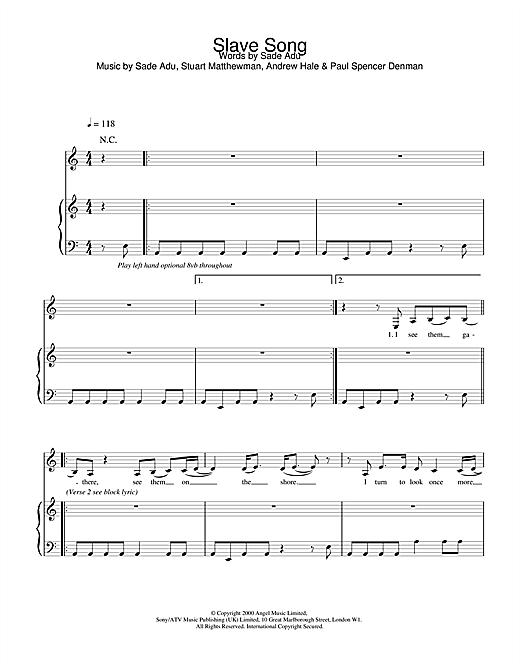 Sade Slave Song sheet music notes printable PDF score
