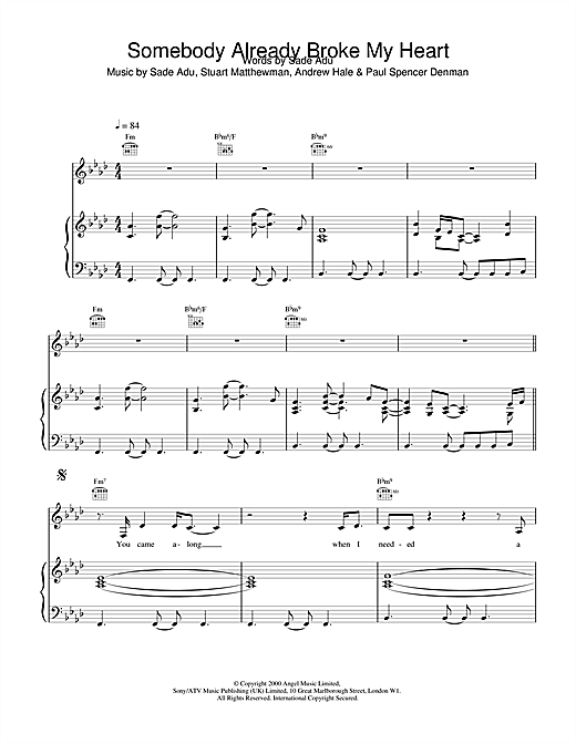 Sade Somebody Already Broke My Heart sheet music notes printable PDF score