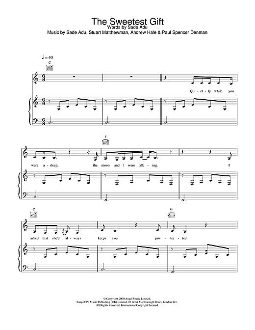 Sade The Sweetest Gift sheet music notes printable PDF score