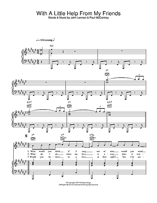 Sam & Mark With A Little Help From My Friends sheet music notes printable PDF score