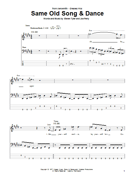 Aerosmith Same Old Song And Dance sheet music notes printable PDF score