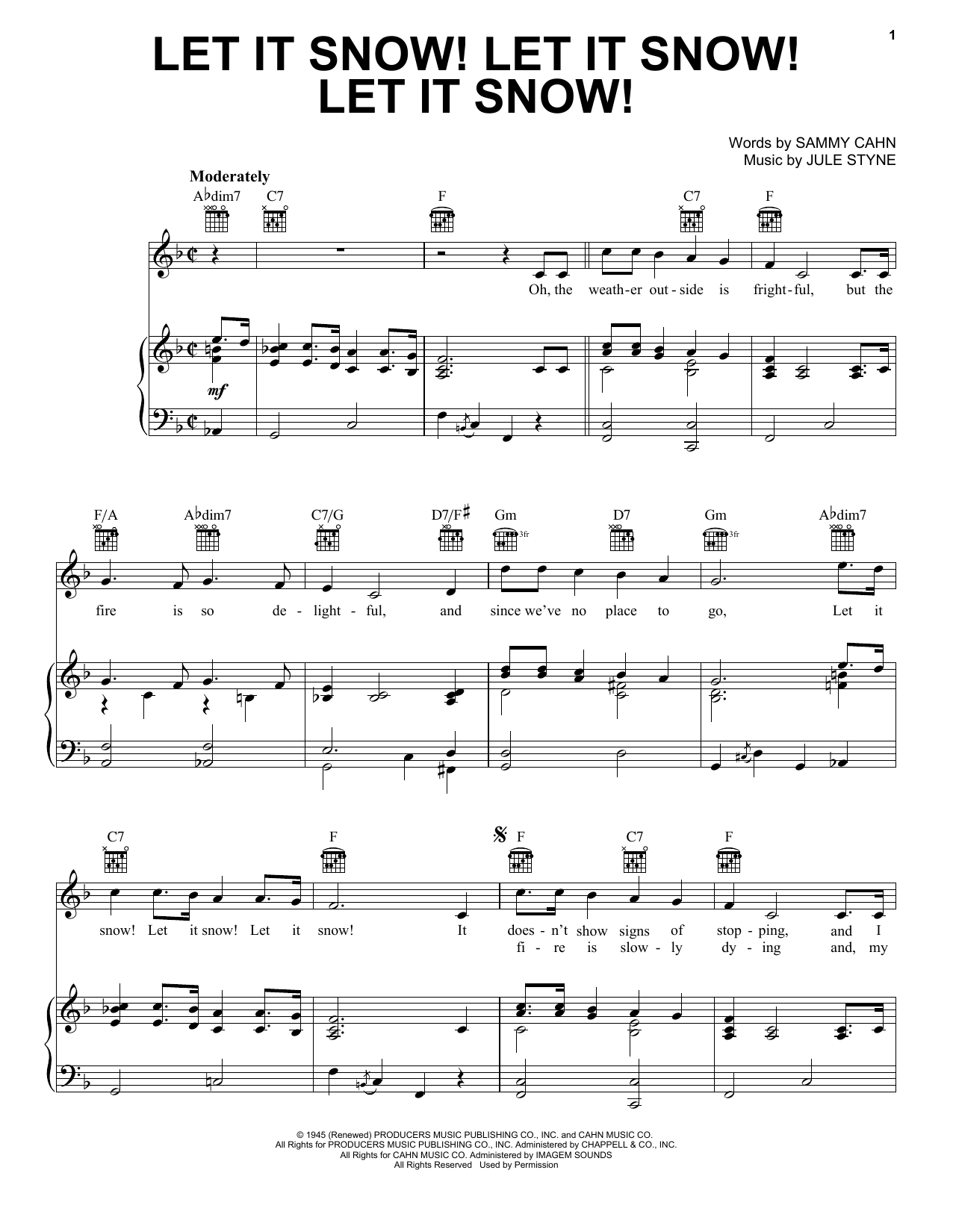 Sammy Cahn Let It Snow! Let It Snow! Let It Snow! sheet music notes and chords - download printable PDF.