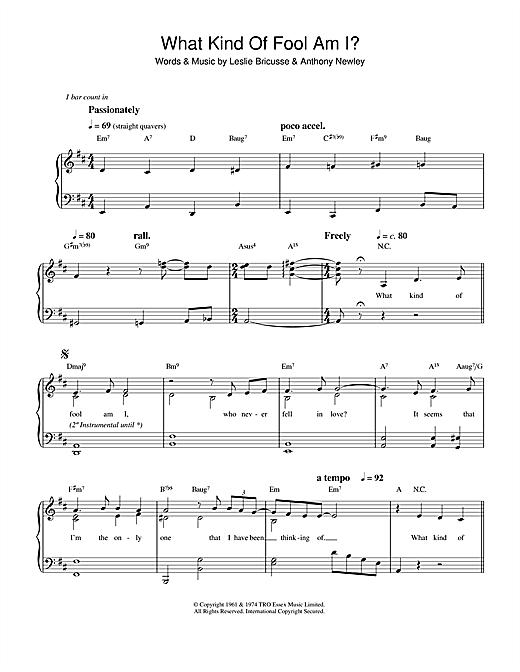 Sammy Davis Jr. What Kind Of Fool Am I sheet music notes printable PDF score