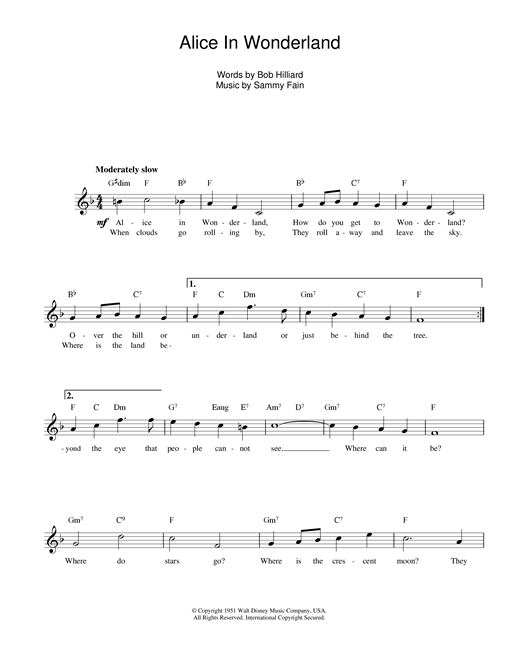 Sammy Fain Alice In Wonderland sheet music notes printable PDF score