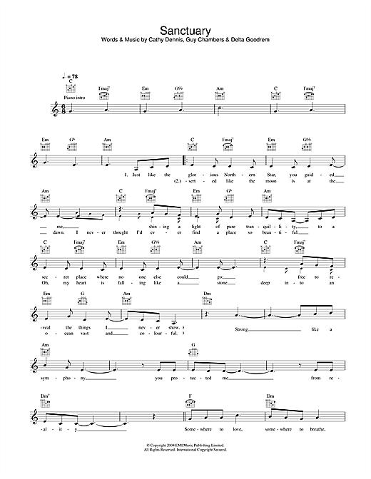 Delta Goodrem Sanctuary sheet music notes printable PDF score
