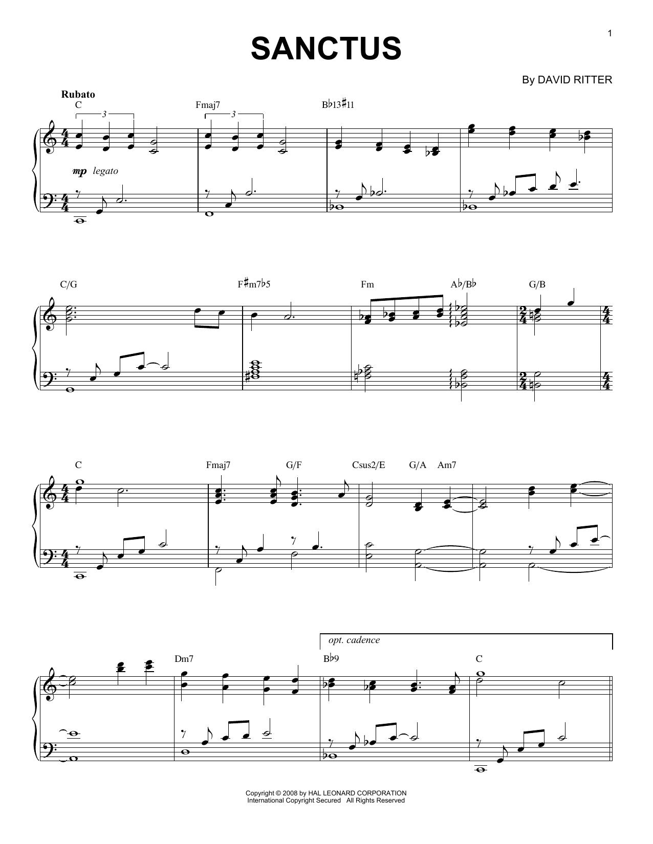 David Ritter Sanctus sheet music notes printable PDF score