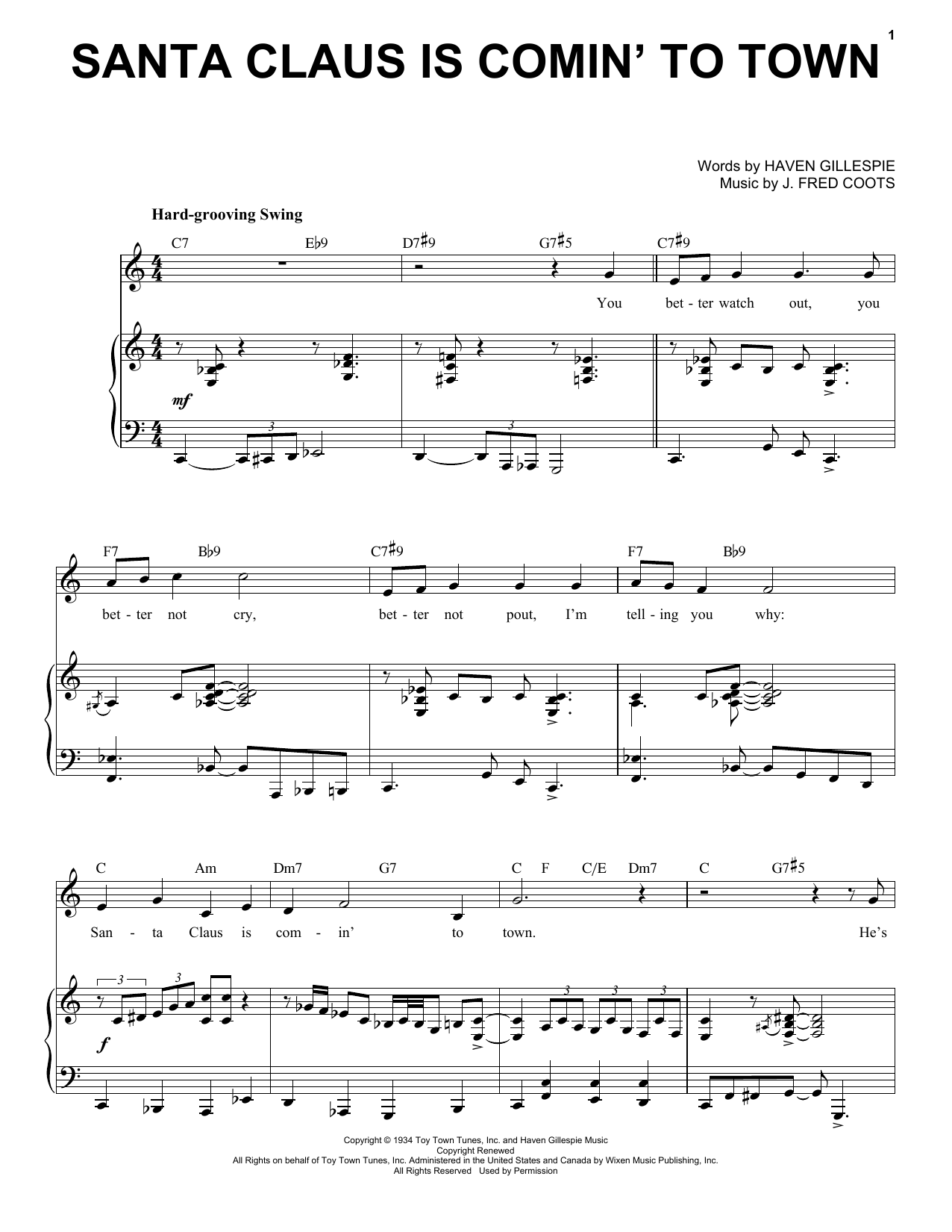 J. Fred Coots Santa Claus Is Comin' To Town [Jazz Version] (arr. Brent Edstrom) sheet music notes printable PDF score