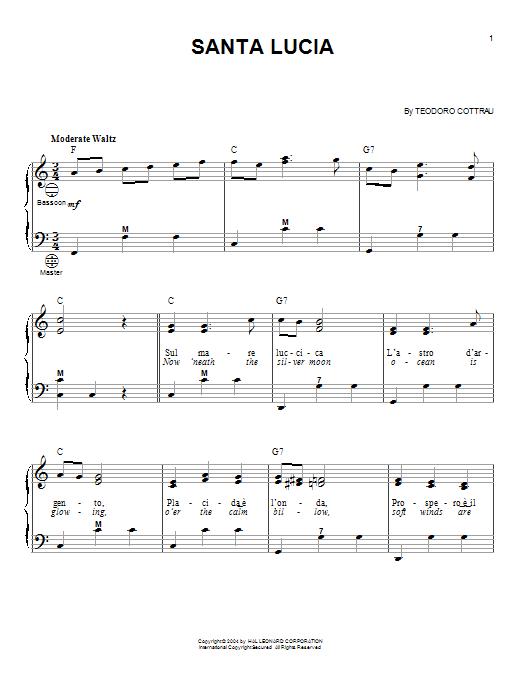 Traditional Santa Lucia sheet music notes printable PDF score