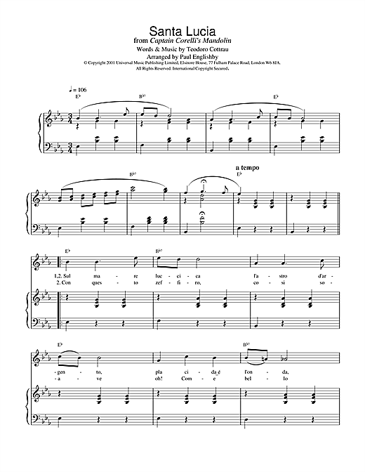 Traditional Santa Lucia sheet music notes printable PDF score