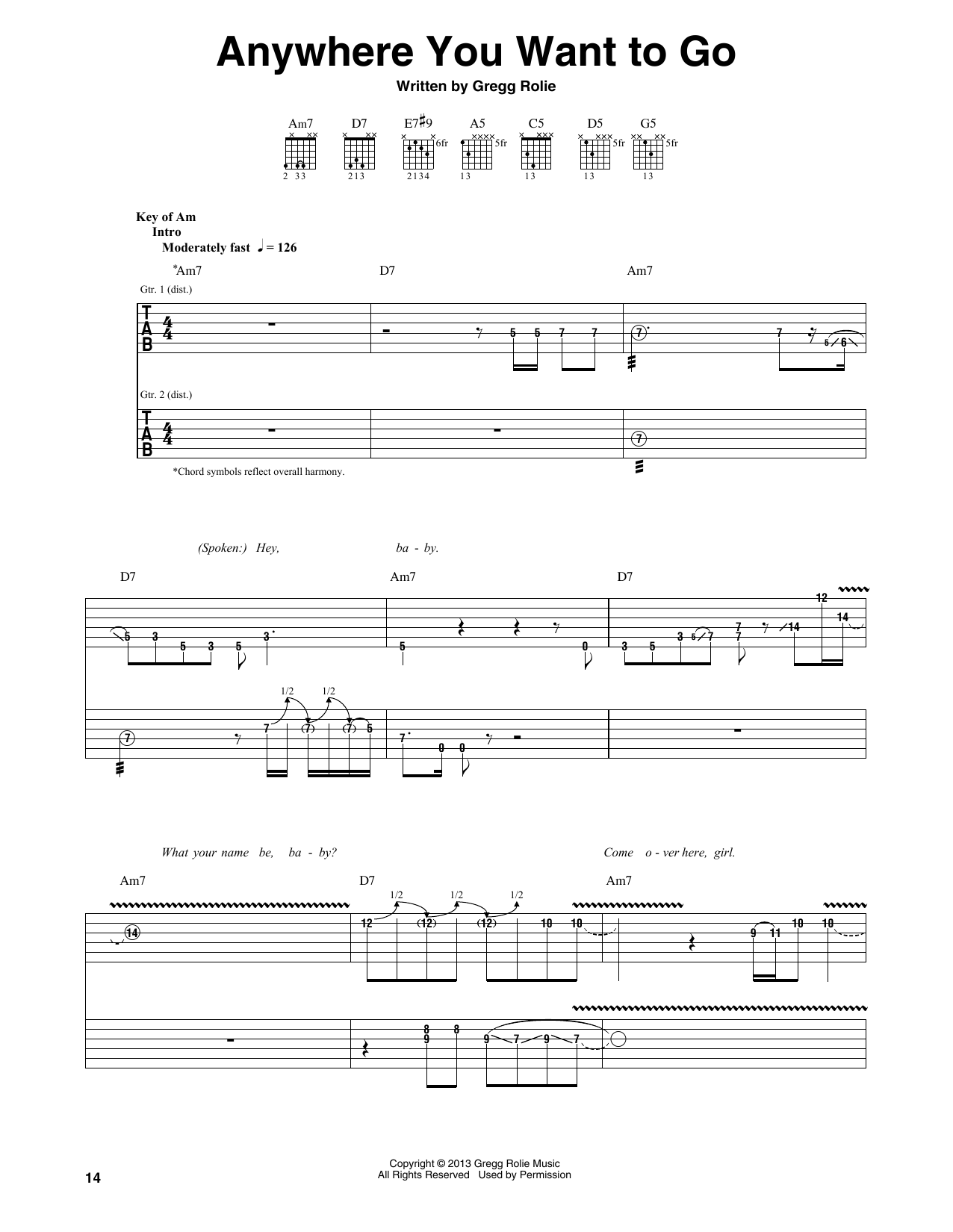 Santana Anywhere You Want To Go sheet music notes and chords. Download Printable PDF.