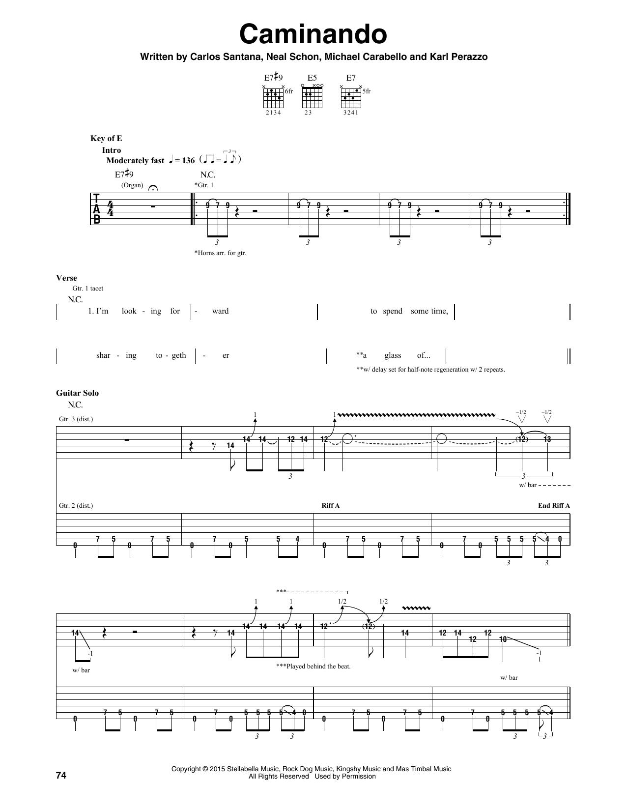 Santana Caminando sheet music notes and chords. Download Printable PDF.