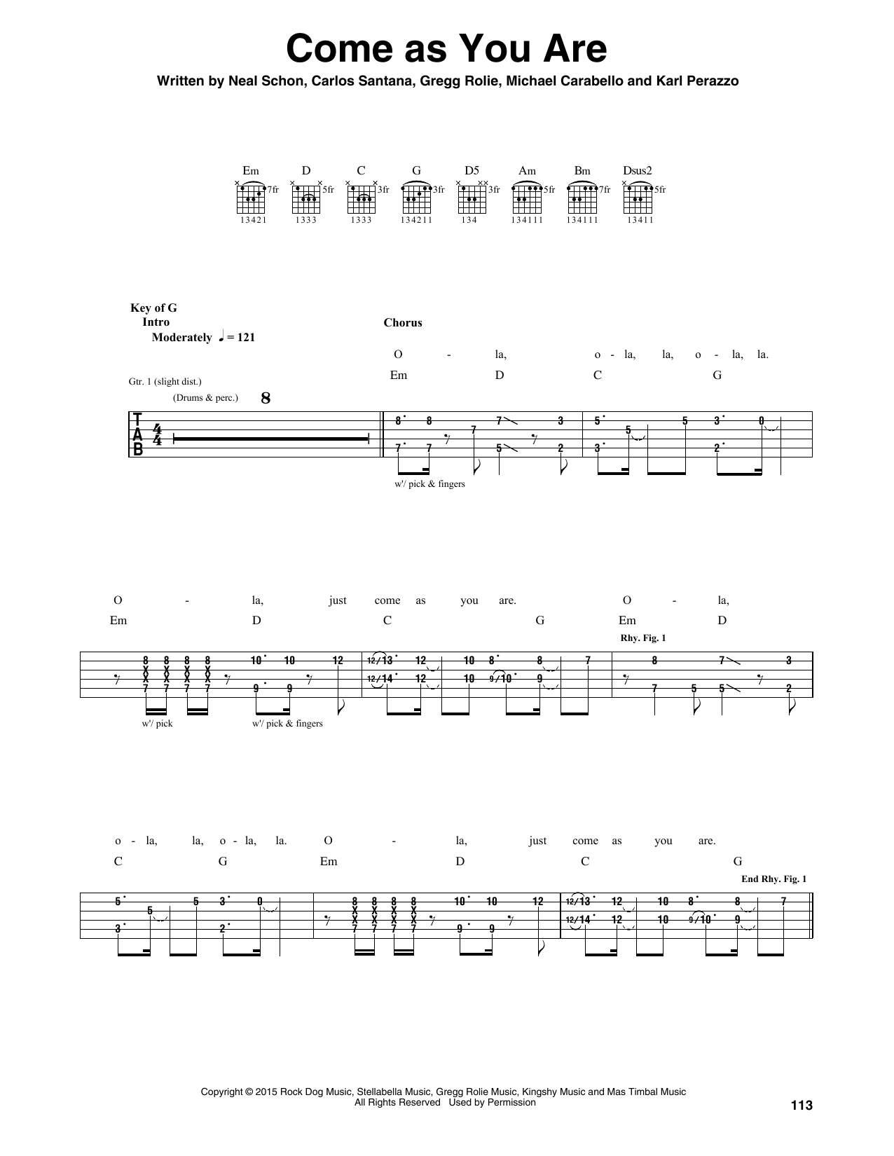 Santana Come As You Are sheet music notes and chords. Download Printable PDF.
