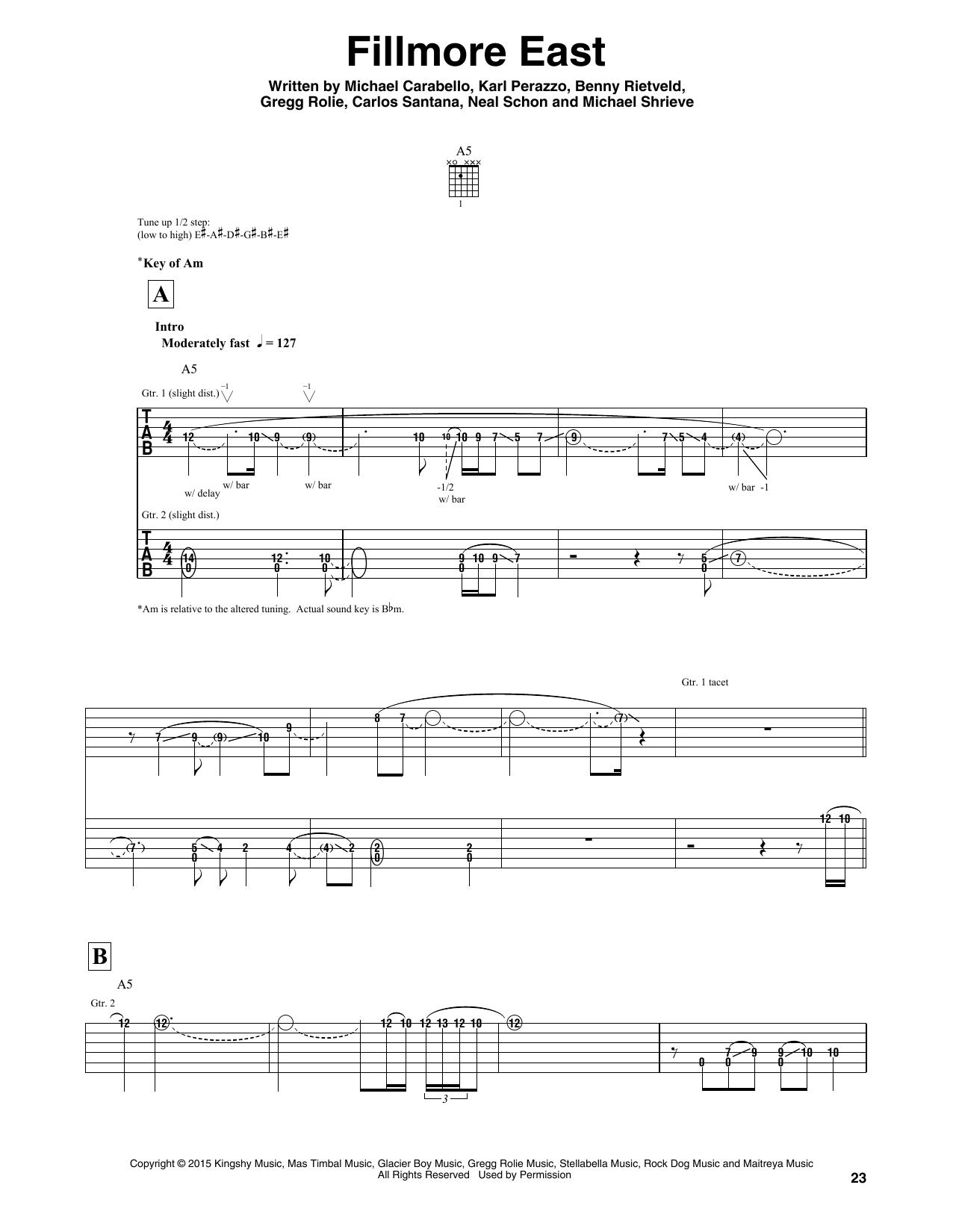 Santana Fillmore East sheet music notes and chords - download printable PDF.
