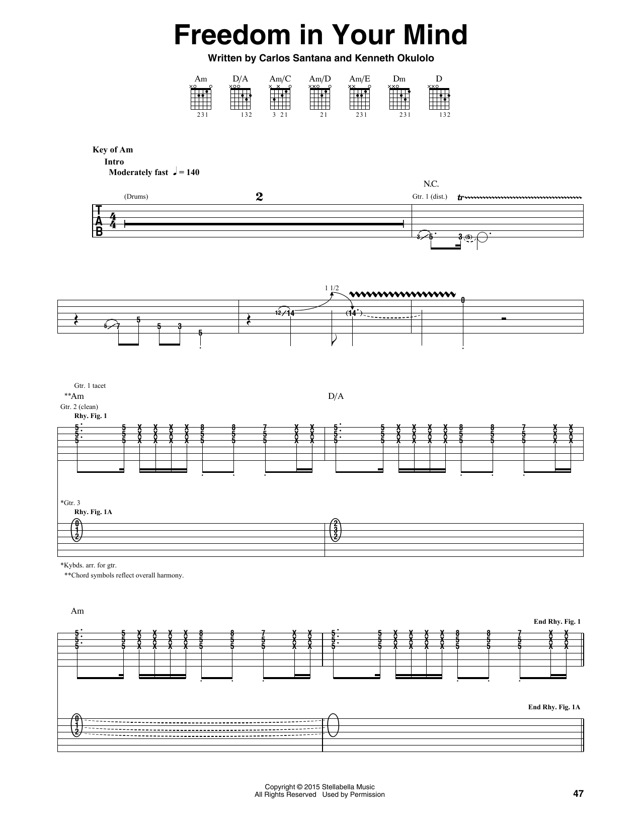 Santana Freedom In Your Mind sheet music notes and chords. Download Printable PDF.