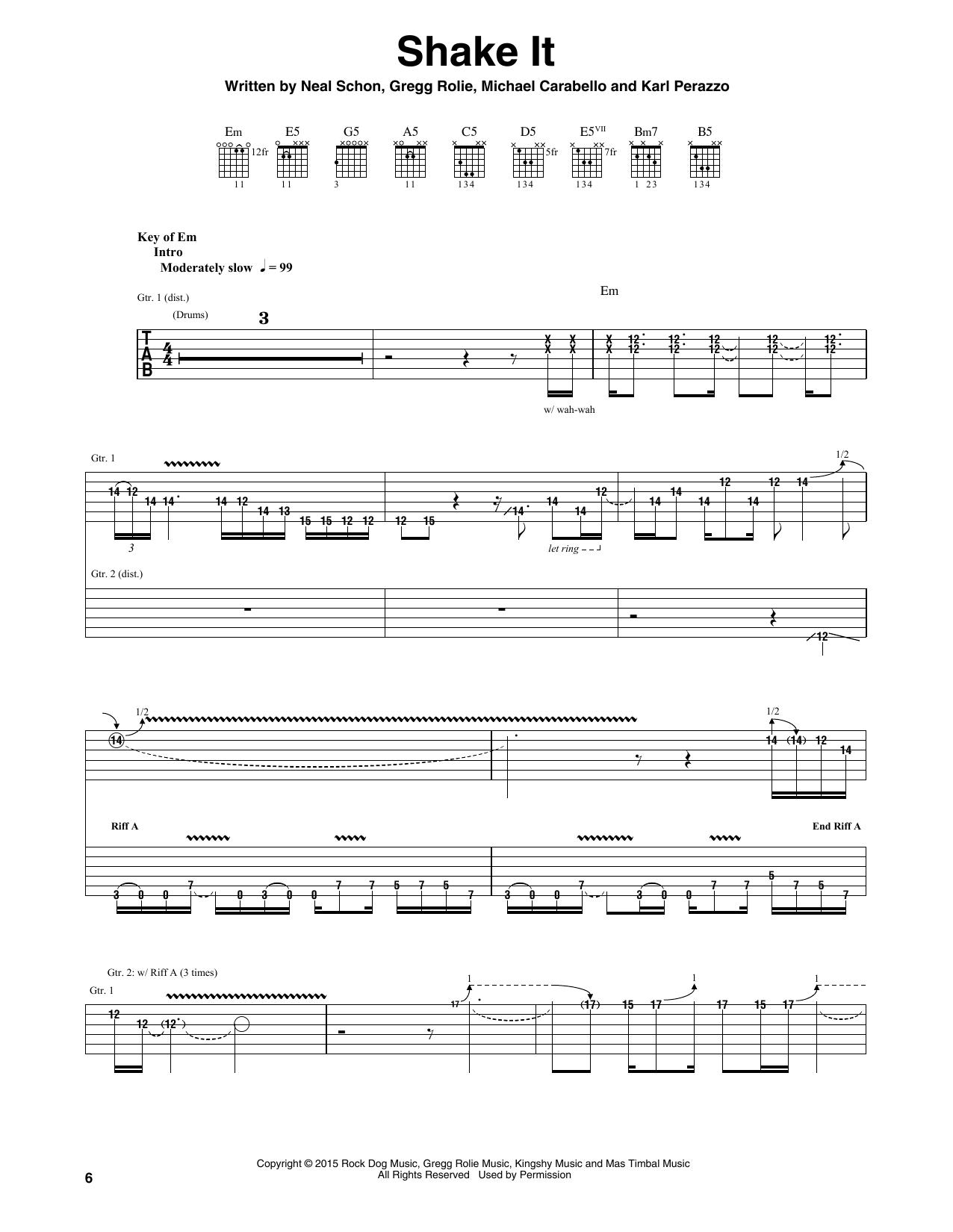 Santana Shake It sheet music notes and chords. Download Printable PDF.