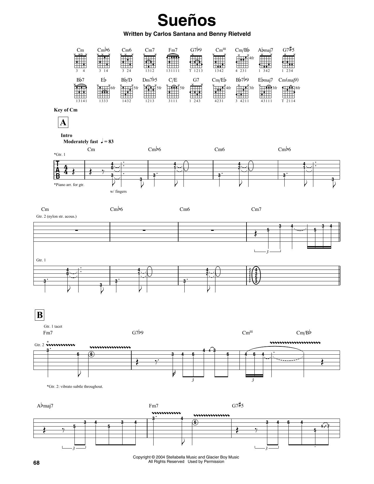 Santana Suenos sheet music notes and chords. Download Printable PDF.