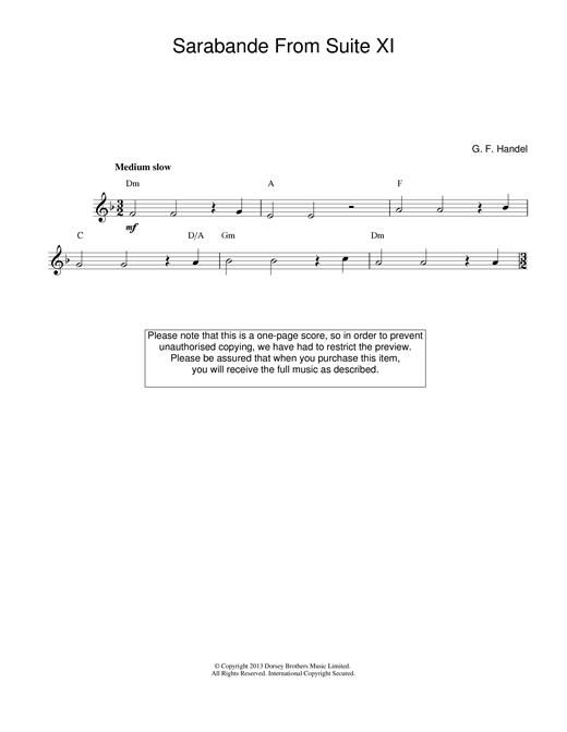 George Frideric Handel Sarabande (from Harpsichord Suite in D Minor) sheet music notes printable PDF score
