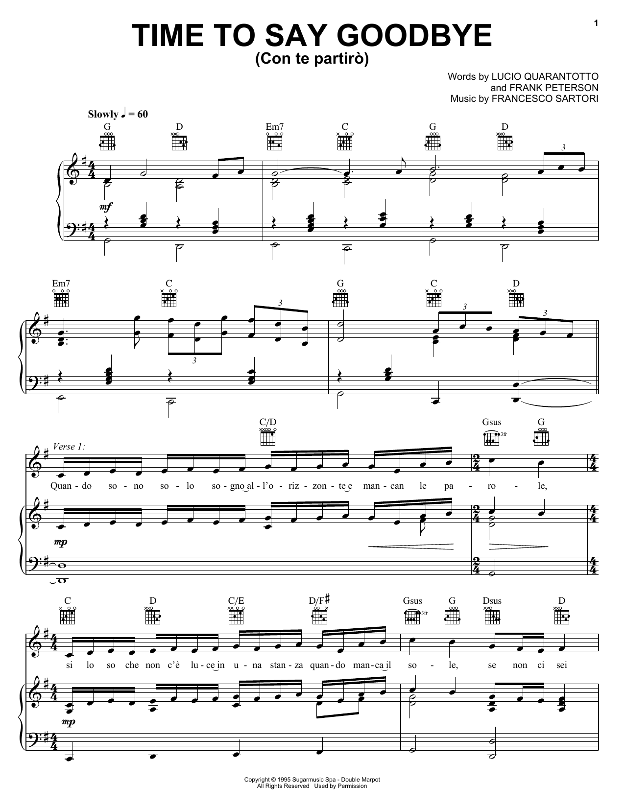 Sarah Brightman with Andrea Bocelli Time To Say Goodbye sheet music notes and chords. Download Printable PDF.