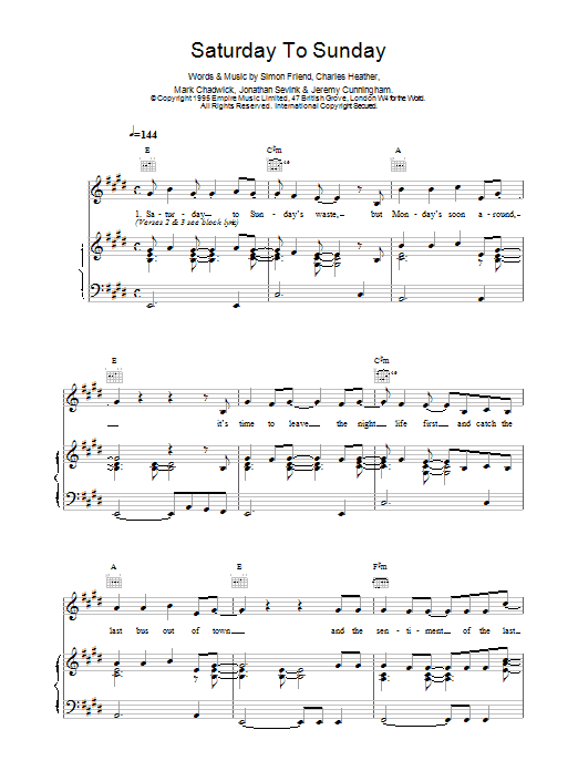 The Levellers Saturday To Sunday sheet music notes printable PDF score