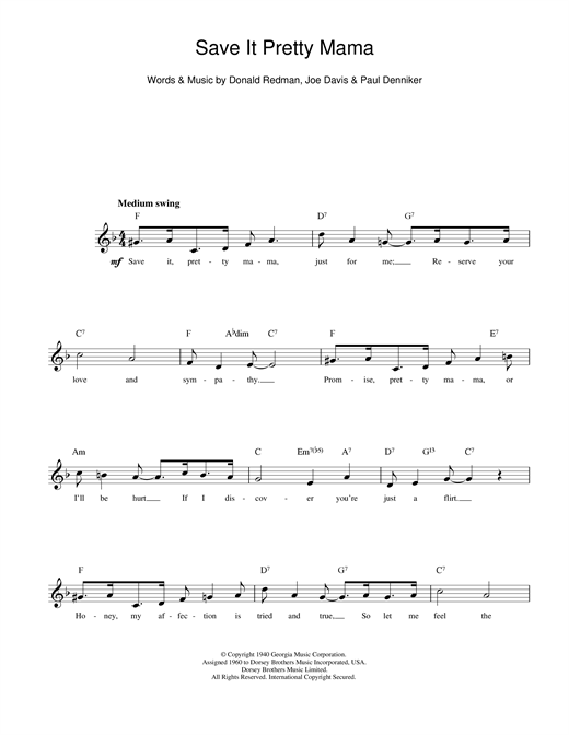 Louis Armstrong Save It Pretty Mama sheet music notes printable PDF score